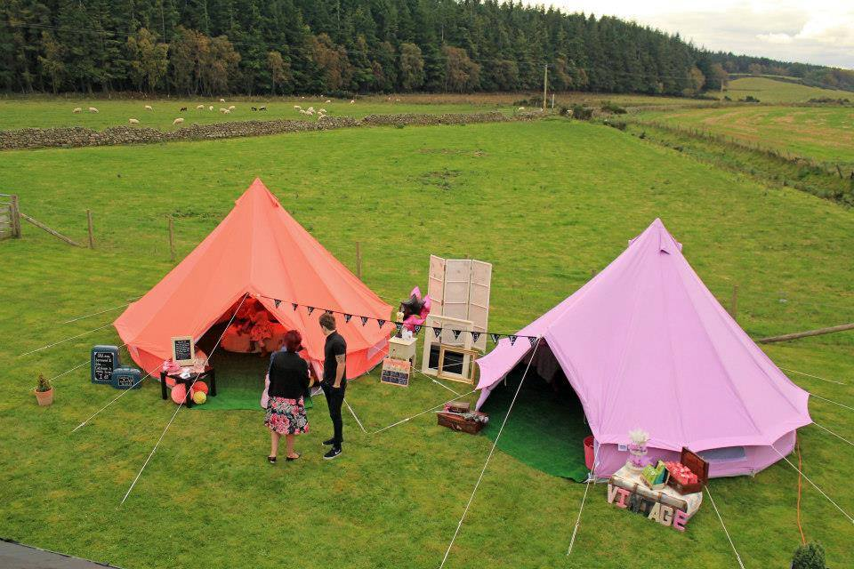 Coral Red and Lilac Bell Tent