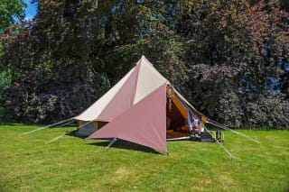 Cookies and Cream Bell Tent with Triangle Tarp