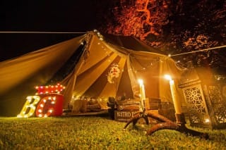 Cookies and Cream Bell Tent with Lights