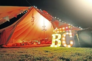 Sandstone Bell Tent and Vegas Lights