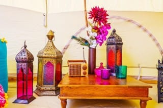 Lanterns and Recycled Teak Bajot Table