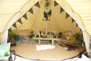 Sandstone Bell Tent with Glamping Accessories