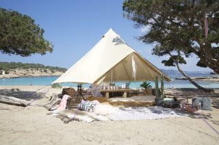 Cream Bell Tent by the Beach