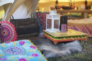 Multi Coloured Bajot Table, Suzani Cushions and Various Accessories