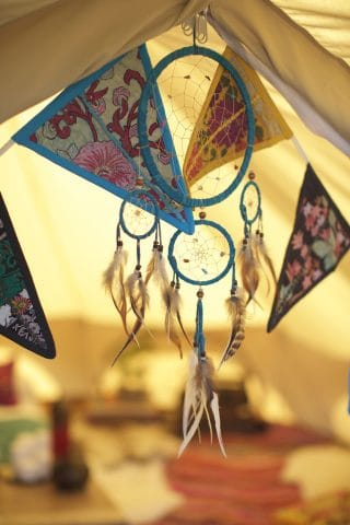 Multi-coloured bunting and Dreamcatcher