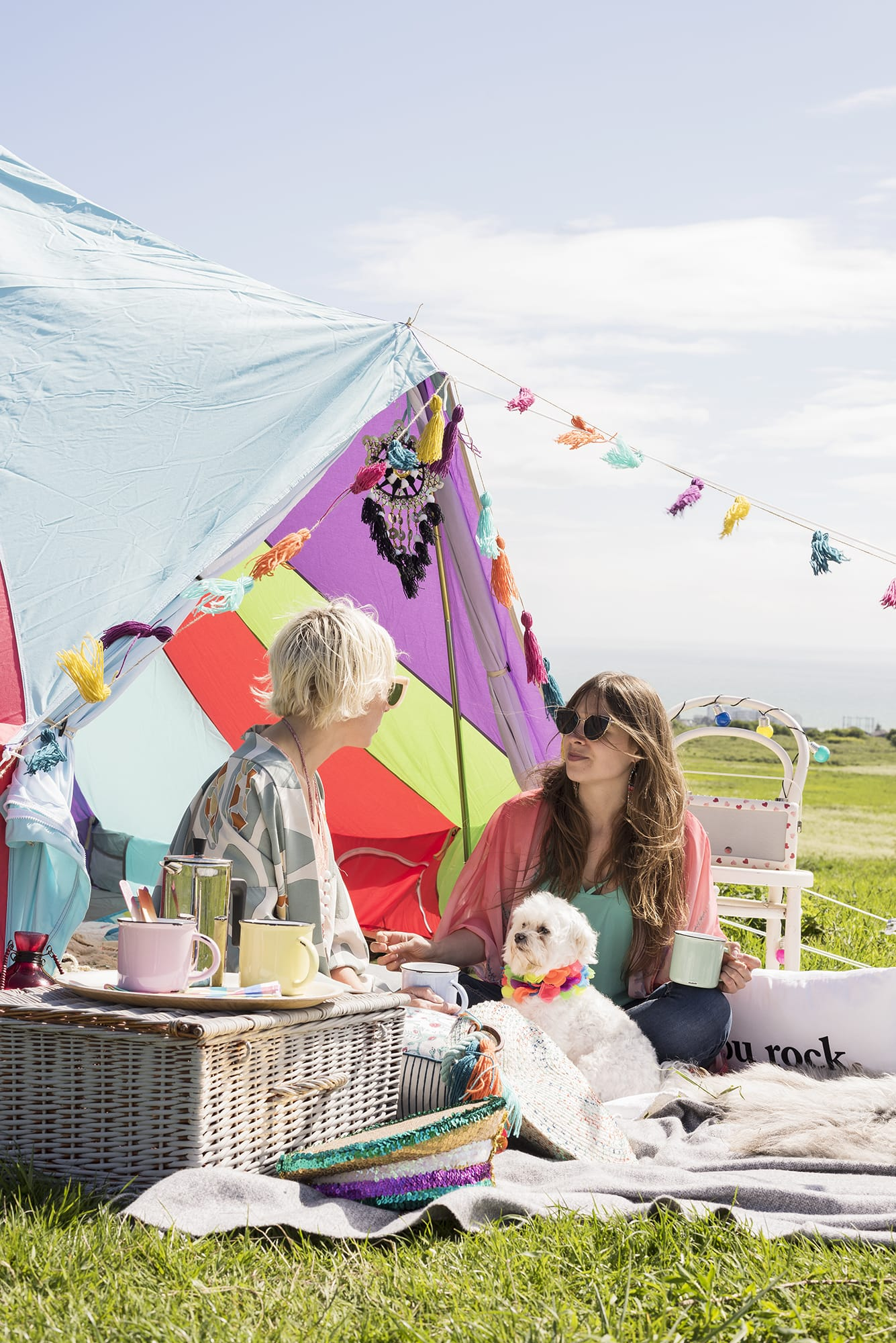Multi-coloured Bell Tent