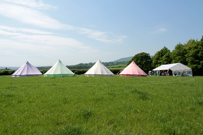Fiesta Fields - Pastel Lilac, Apple Green, Sandstone and Coral Red Bell Tent