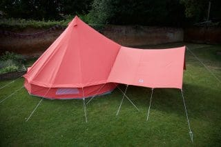 Coral Red Bell Tent with Matching Awning