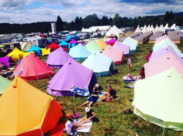 Tangerine Orange, Pastal Lilac, Sky Blue, Coral Red and Apple Green Bell Tent