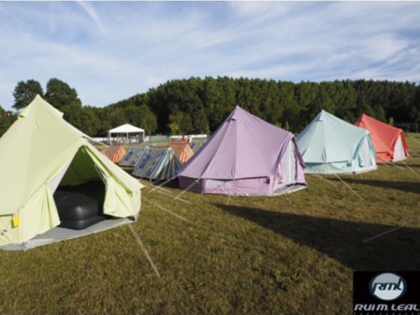 Apple Green, Pastel Lilac, Sky Blue and Coral Red Bell Tent