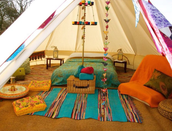 Sandstone Bell Tent with Furnishings