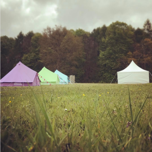 Pastel Lilac, Apple Green and Sky Blue Bell Tent