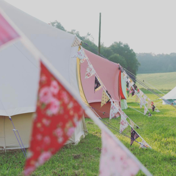 Sandstone and Coral Red Bell Tent