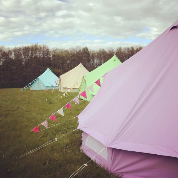 Sky Blue, Sandstone, Apple Green and Pastel Lilac Bell Tents