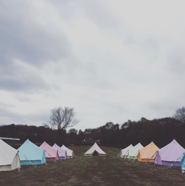 Sandstone, Sky Blue, Coral Red, Pastel Lilac, Apple Green and Tangerine Orange Bell Tents