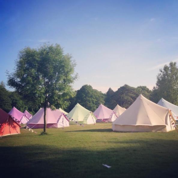 Coral Red, Pastel Lilac, Apple Green and Sandstone Bell Tents