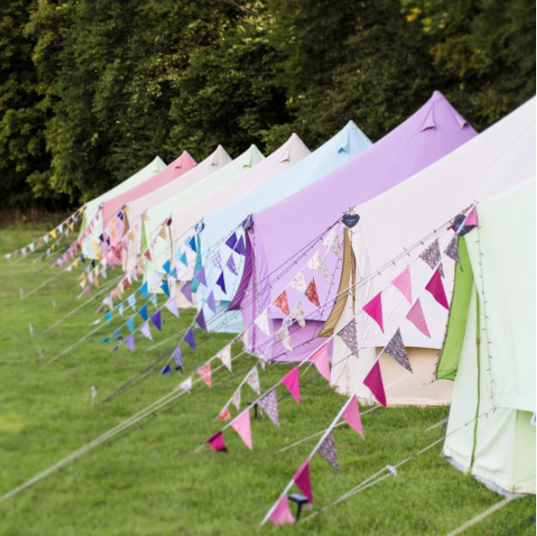 Sandstone, Coral Red, Apple Green, Sky Blue and Pastel Lilac Bell Tents