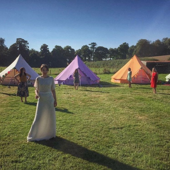 Sandstone, Pastel Lilac and Tangerine Orange Bell Tent