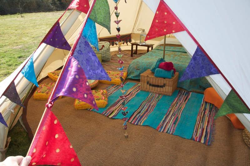 Sandstone Glamping Tent with Bunting, Cushions, Indian Rag Rug and More!