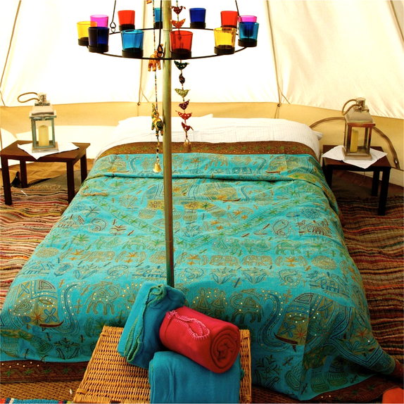 Sandstone Bell Tent Furnishings Including Double Bed and Multi-Coloured Chandelier
