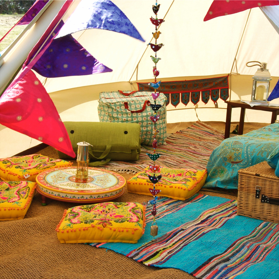 Sandstone Bell Tent with Suzani Cushions, Bunting, Indian Rag Rug and More!