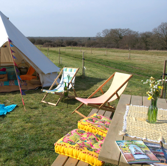 Bell Tent with Yellow Suzani Cushions