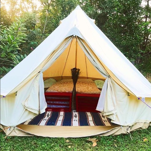 One of our Sandstone Bell Tents, picture taken by El Ranchito Surfcamp