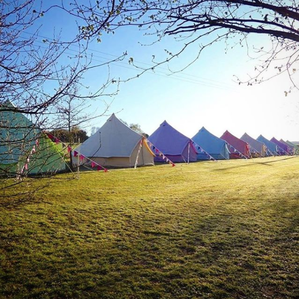 Some of our coloured bell tents, taken by Baylily Bell Tents