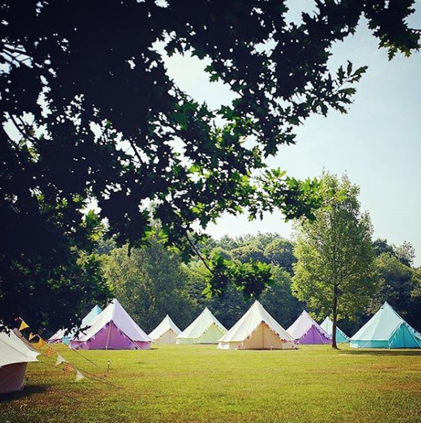 Great shot of our coloured bell tents, captured by Baylily Bell Tents