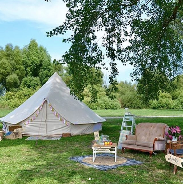 One of our customers created their own glamping party with our Sandstone Bell Tent!