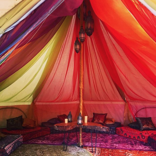 Our Star Bell Tent filled with glamping accessories and decorations!