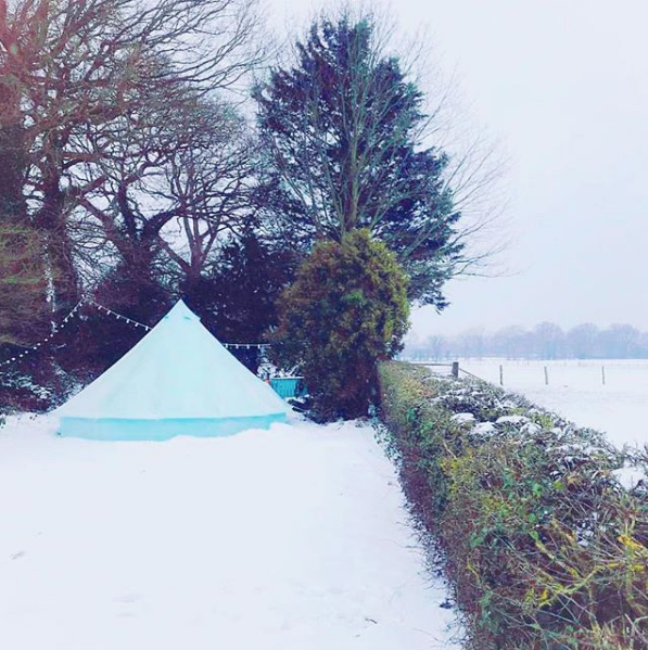 5m Sky Blue Tent in the snow!