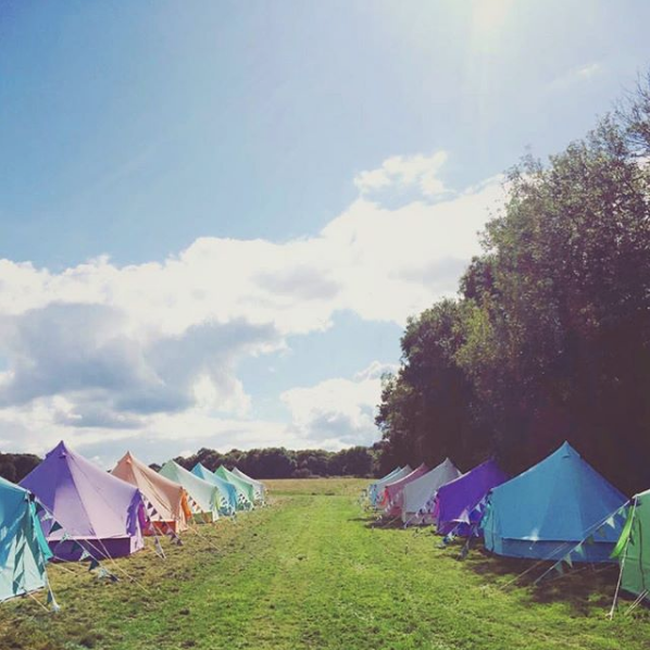 Some of our lovely coloured bell tents!