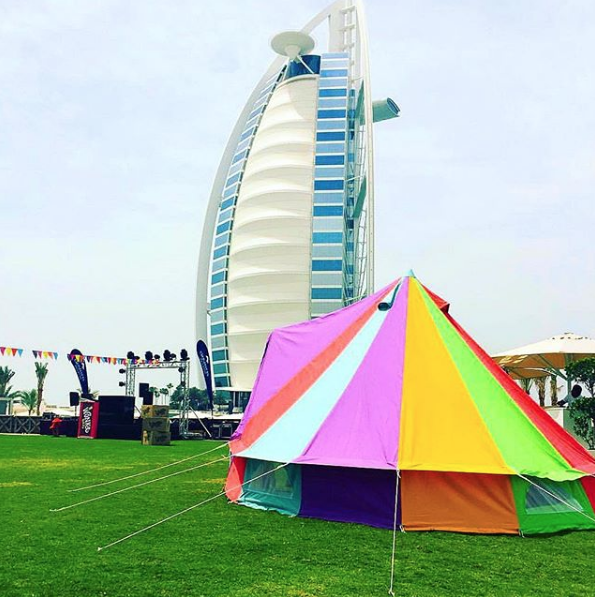 Our Weekender Polyester Rainbow Tent by the Burj Al Arab in Dubai!