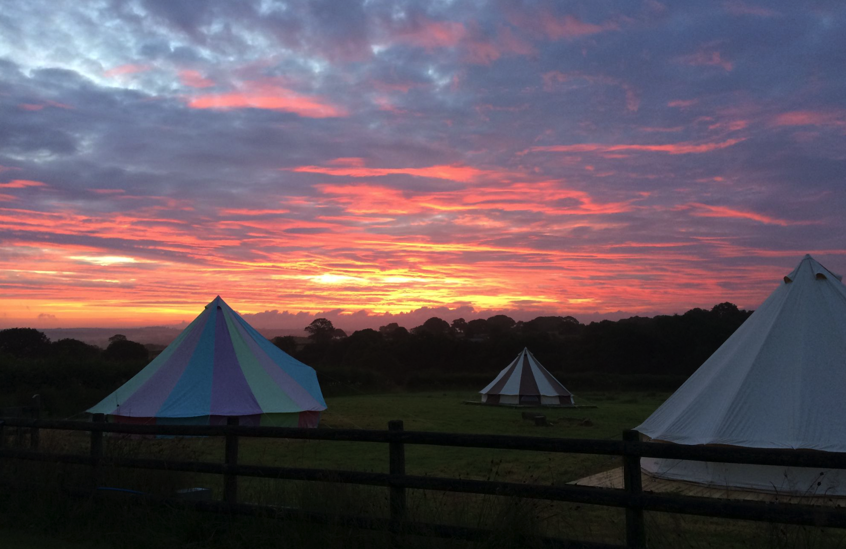 Boutique Camping Rainbow Bell Tent, Cookies and Cream Bell Tent and Sky Blue Bell Tent