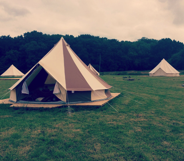 Cookies and Cream Bell Tent and Sandstone Bell Tents