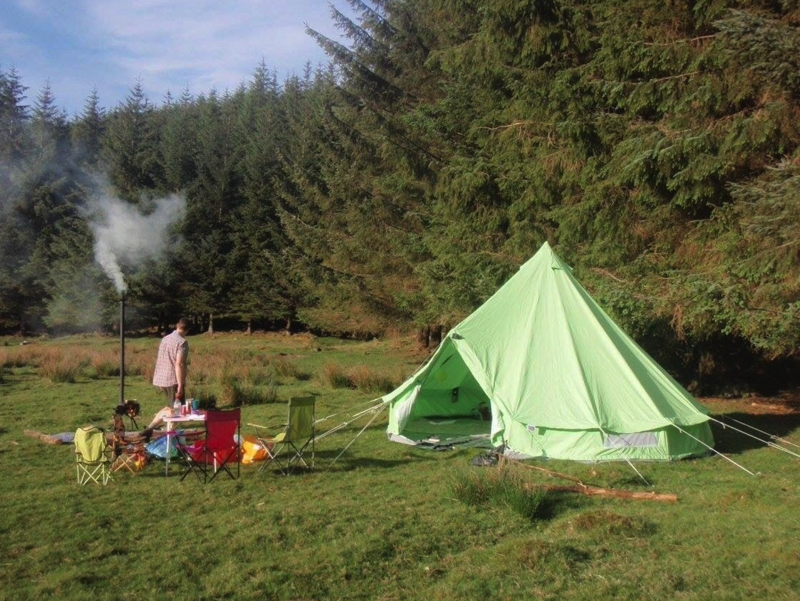 The perfect glamping set up with our Apple Green Bell Tent