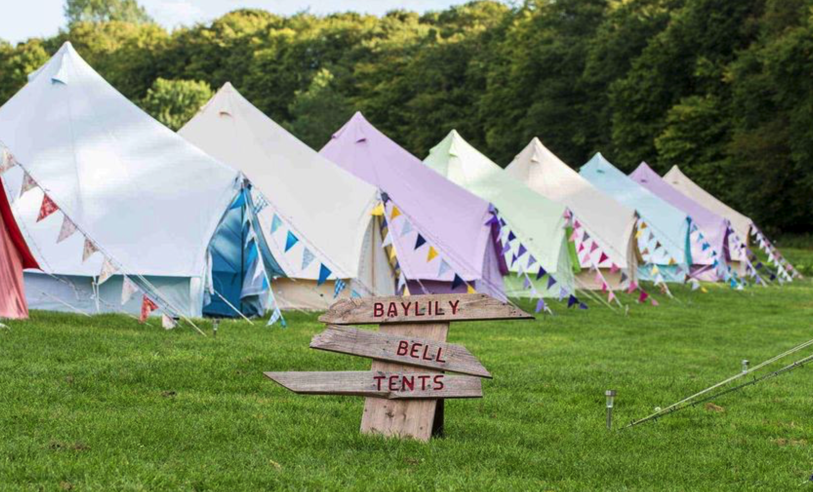 Some of our beautiful coloured bell tents taken by Baylily Bell Tents