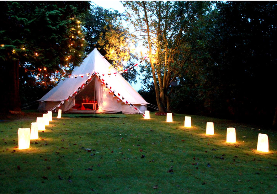Neutral Bell Tent with Lights and Accessories