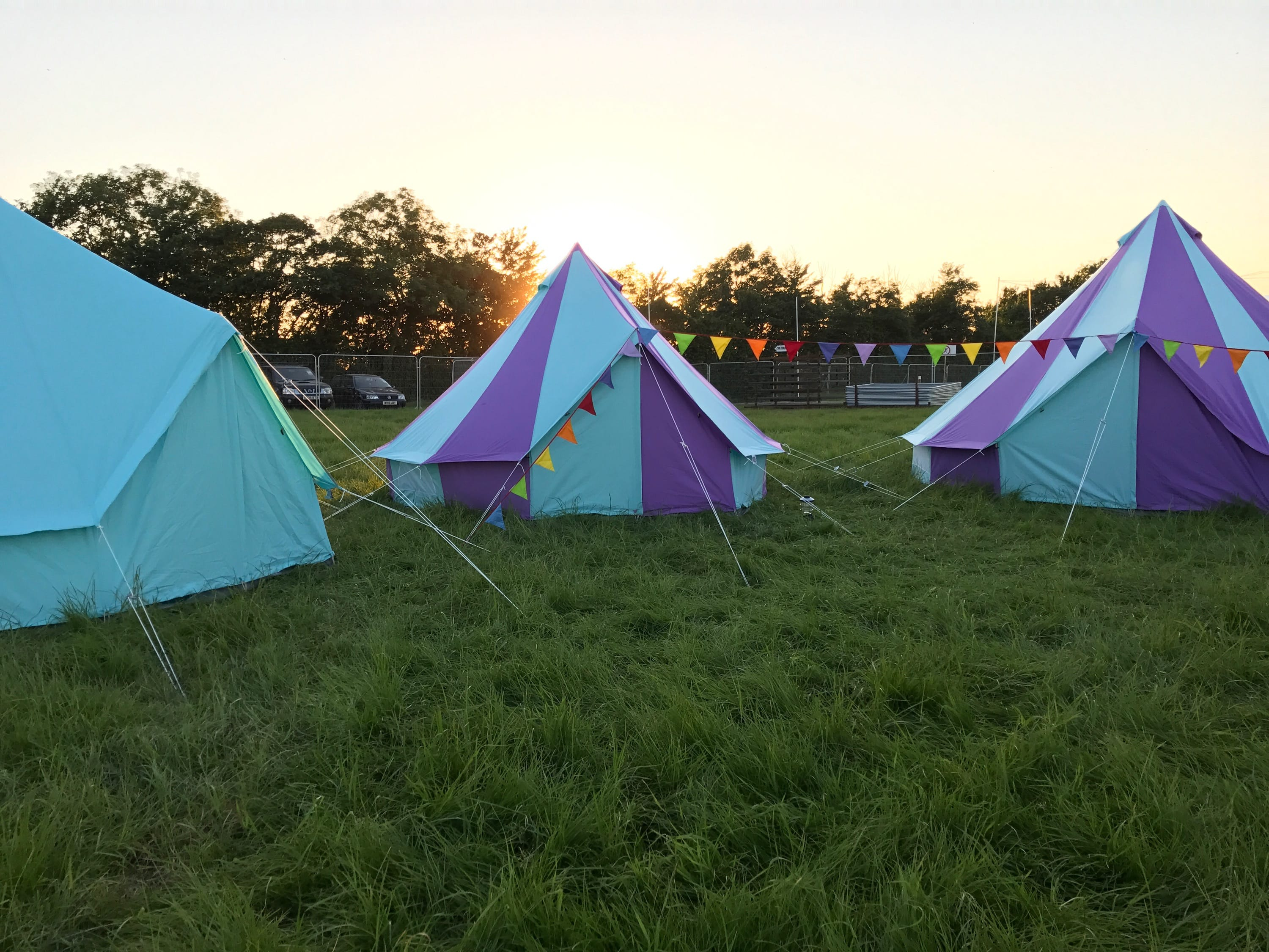 Sky Blue and Harlequin Bell Tents