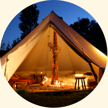 inside a bell tent glamping