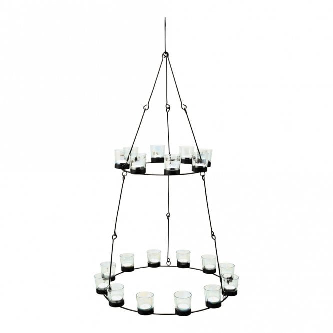 2 Tier Chandelier - Black frame Iridescent Glass