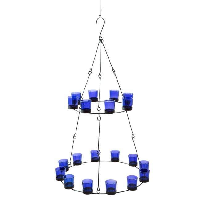 2 Tier Chandelier - Blue Coloured Glass