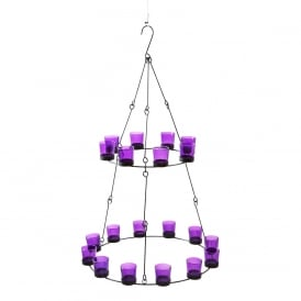 2 Tier Chandelier - Purple Glass