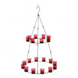 2 Tier Chandelier - Red Coloured Glass