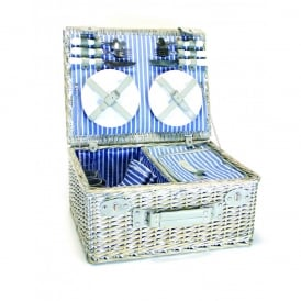 4 Person Wicker Picnic Basket with Cooler Compartment