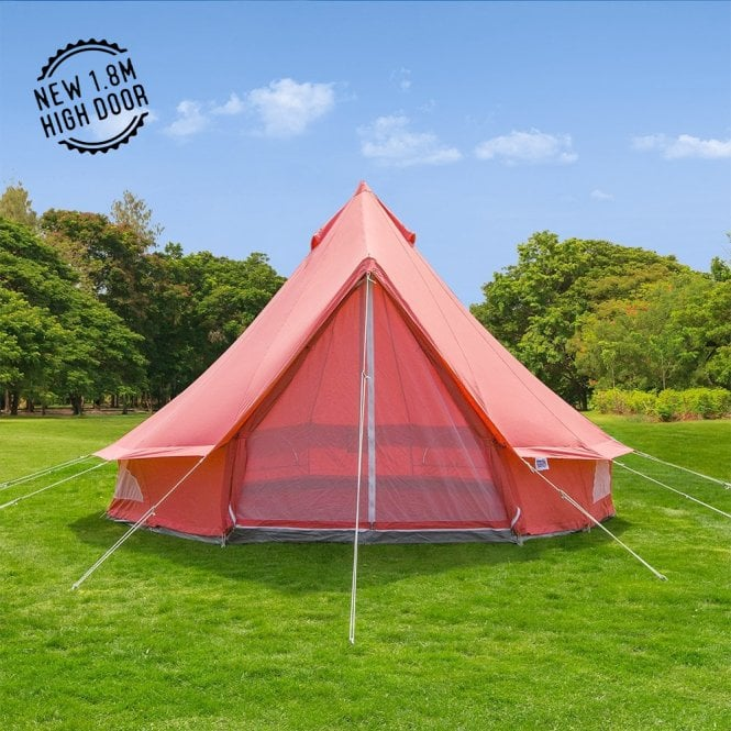 4m Coral Red Canvas Bell Tent