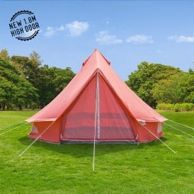 Boutique Camping Tents 4m Coral Red Canvas Bell Tent