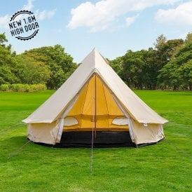 4m Lightweight Sandstone Canvas Bell Tent - Single Door