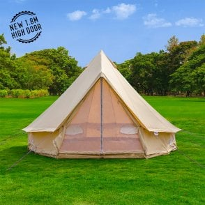 4m Sandstone Canvas Bell Tent - Single Door